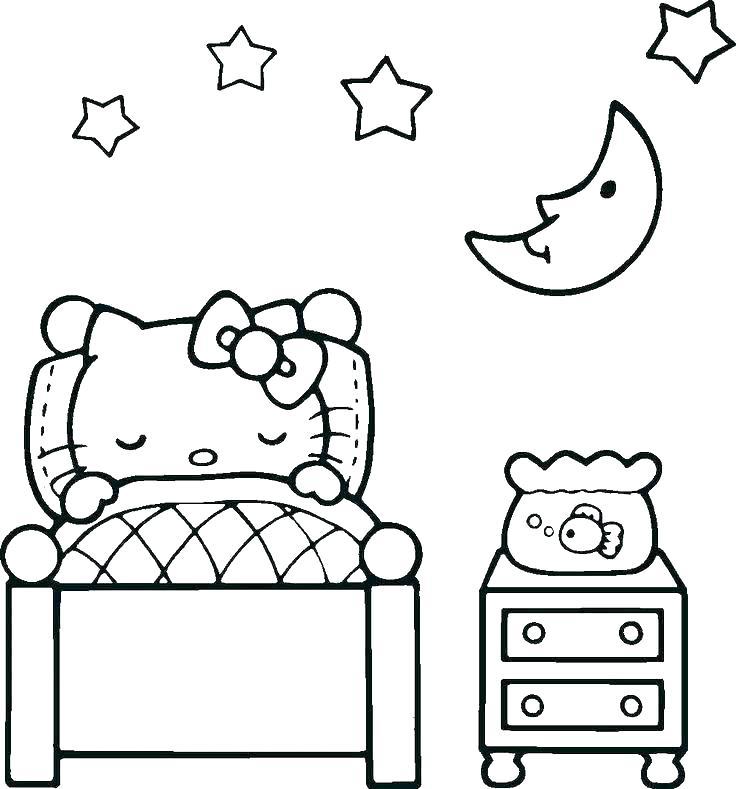 Hình tập tô màu mèo Kitty đáng yêu
