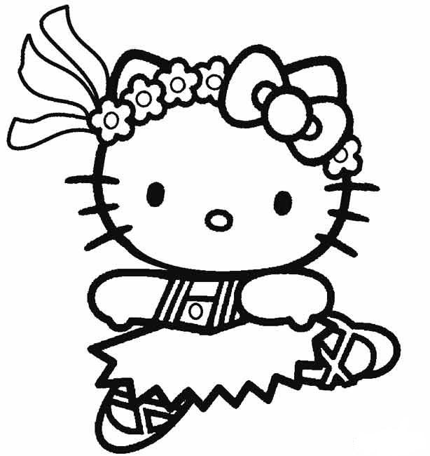 Hình tập tô màu mèo Kitty dễ thương