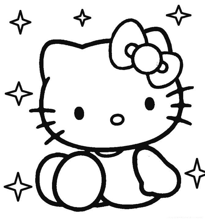 Hình tập tô màu mèo Kitty xinh xắn