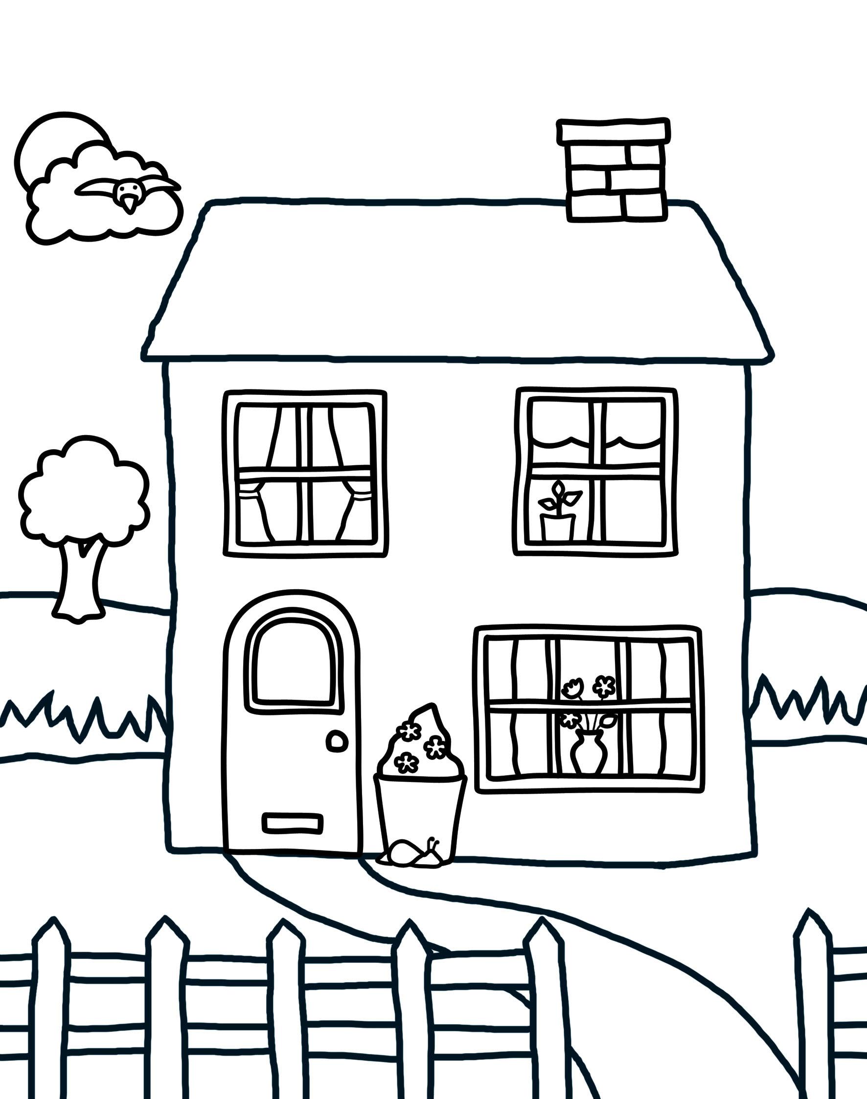 Hình tập tô ngôi nhà của bé