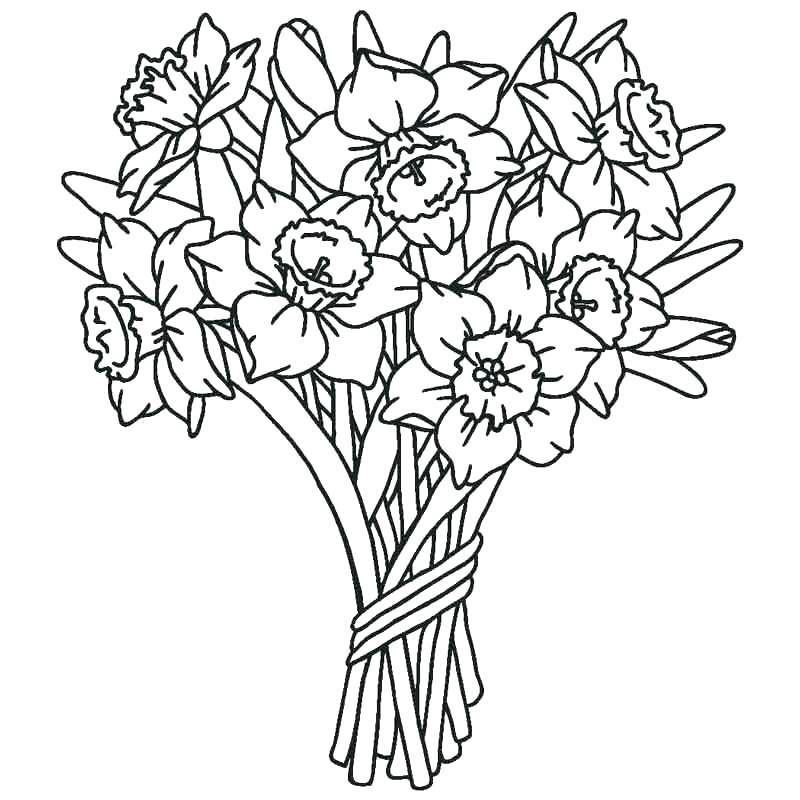 Hình tô màu bó hoa