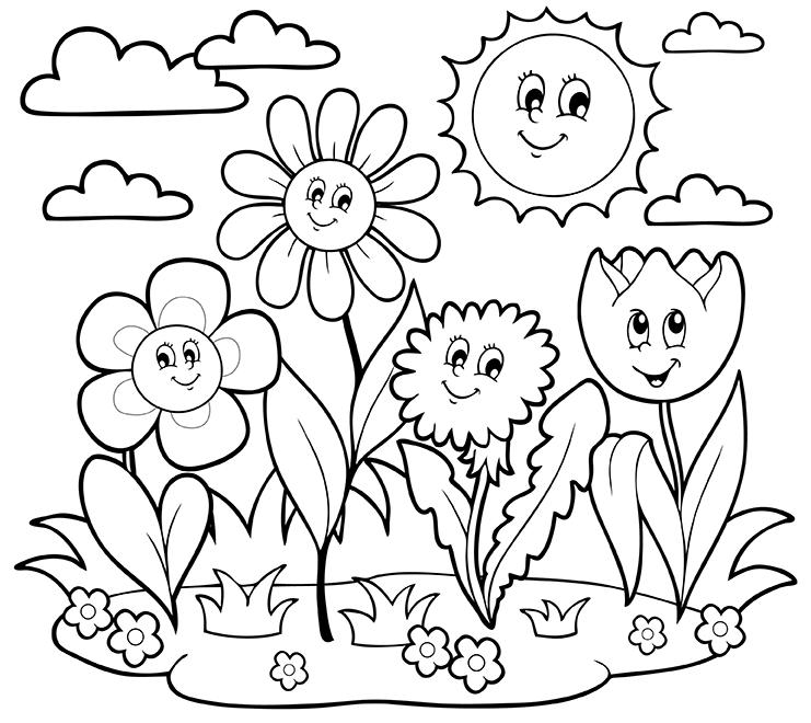Hình tô màu các loại hoa