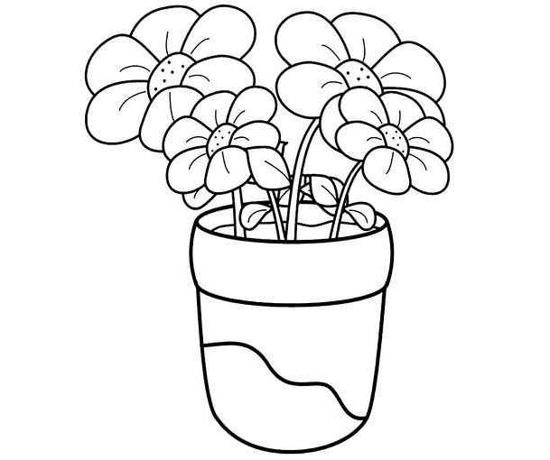Hình tô màu lọ hoa cho bé tập tô