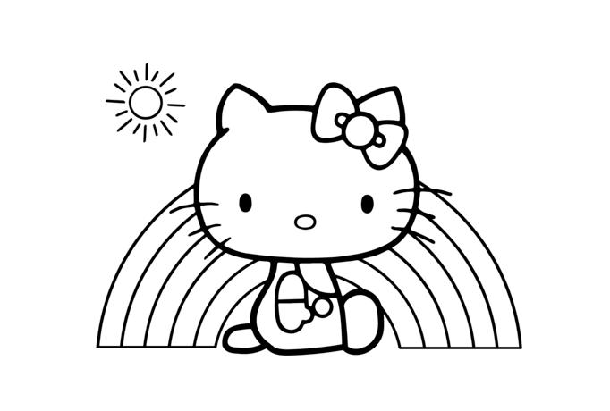 Hình tô màu mèo Kitty đáng yêu