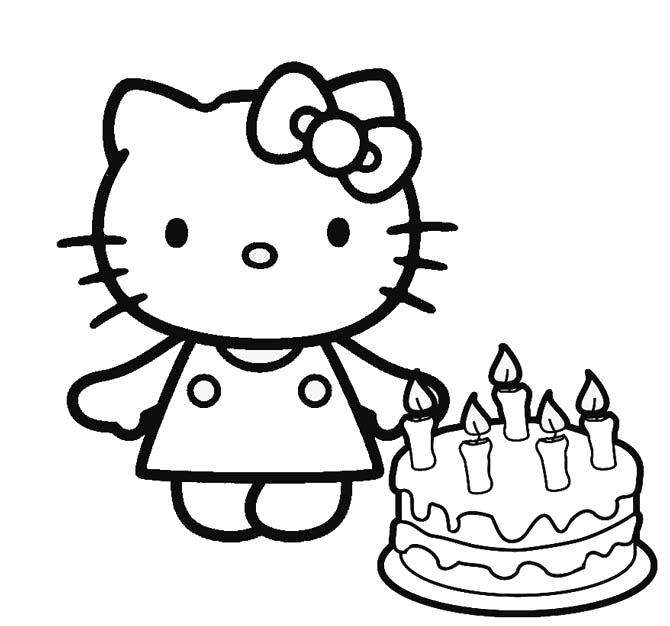 Hình tô màu mèo Kitty và bánh sinh nhật