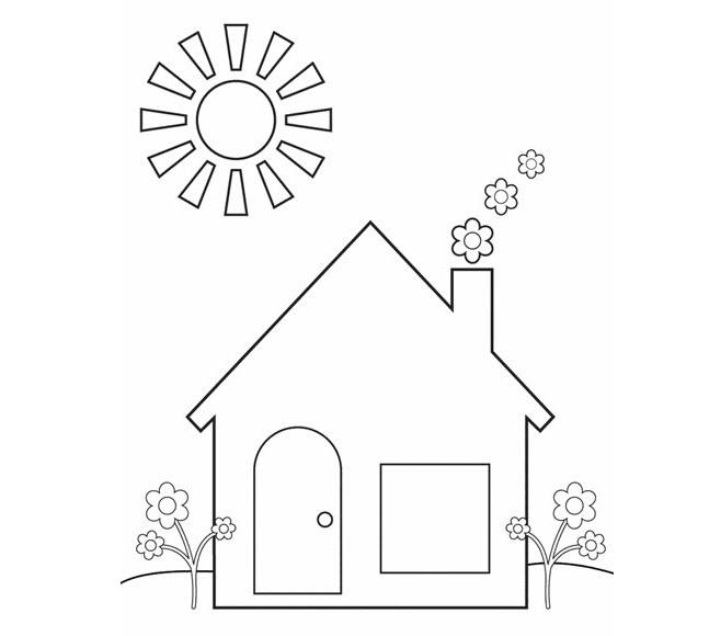 Hình tô màu ngôi nhà cho bé (2)