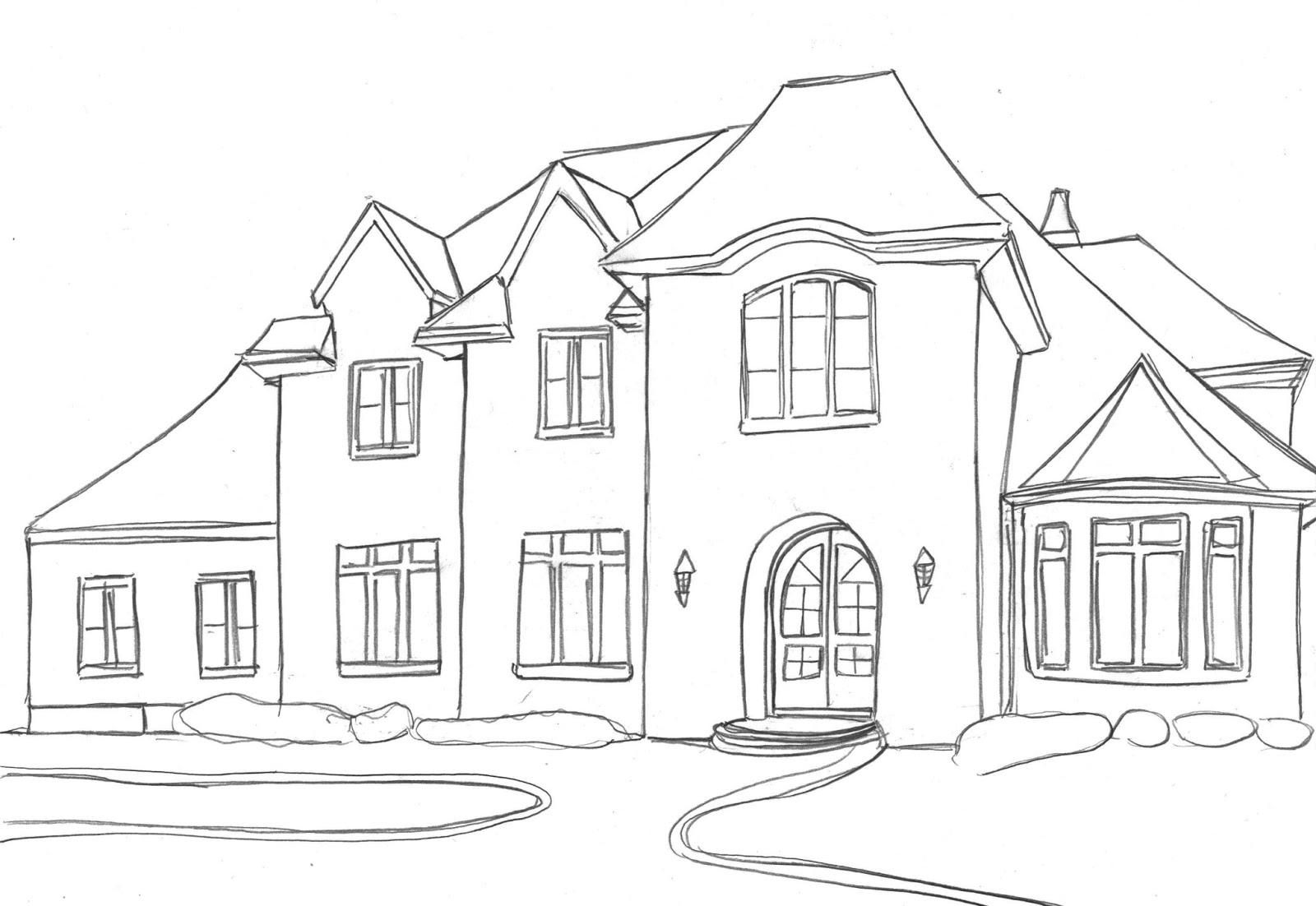 Hình tô màu ngôi nhà của bé