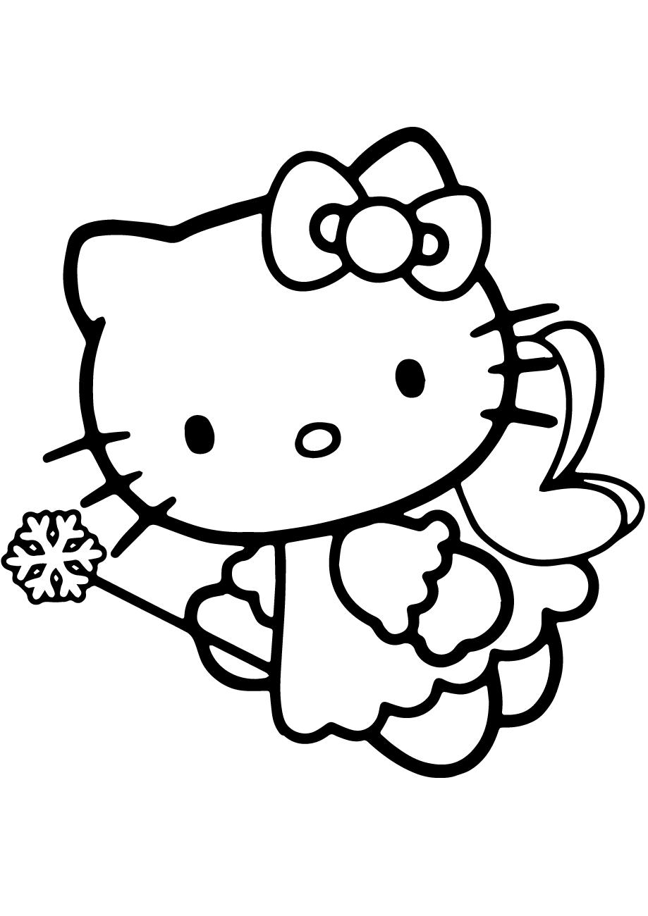 Mèo Kitty đáng yêu cho bé tập tô màu