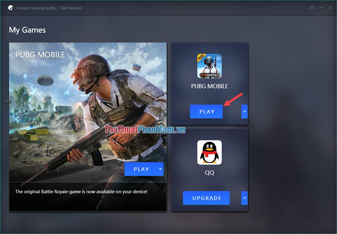 Nhấn Play để chơi PUBG Mobile VNG
