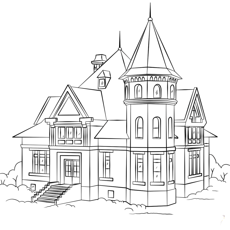 Tập tô màu hình ngôi nhà đơn giản