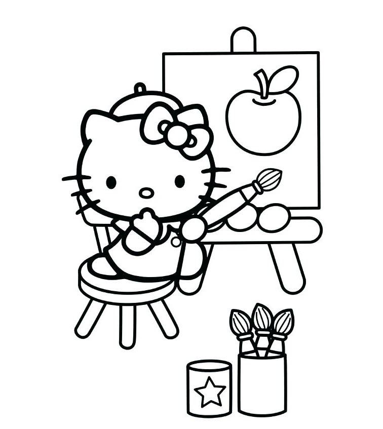 Tập tô màu mèo Kitty dễ thương