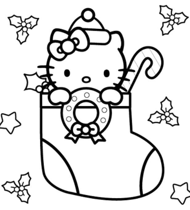 Tranh cho bé tập tô màu mèo Kitty