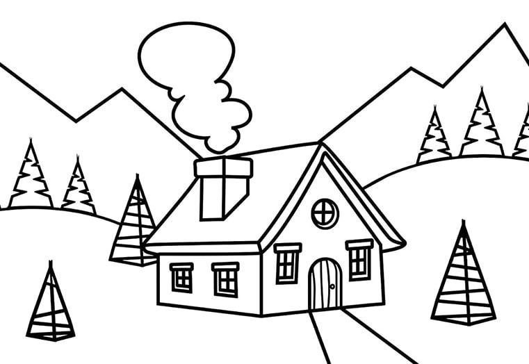 Tranh cho bé tập tô màu ngôi nhà giữa núi đồi đẹp