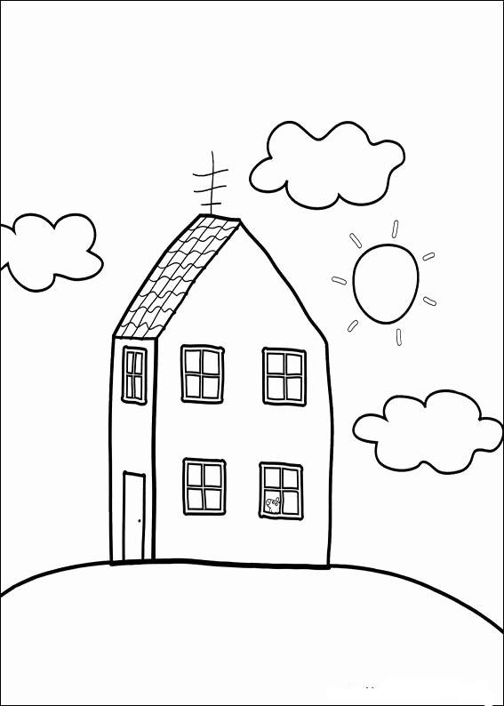Tranh cho bé tập tô màu ngôi nhà