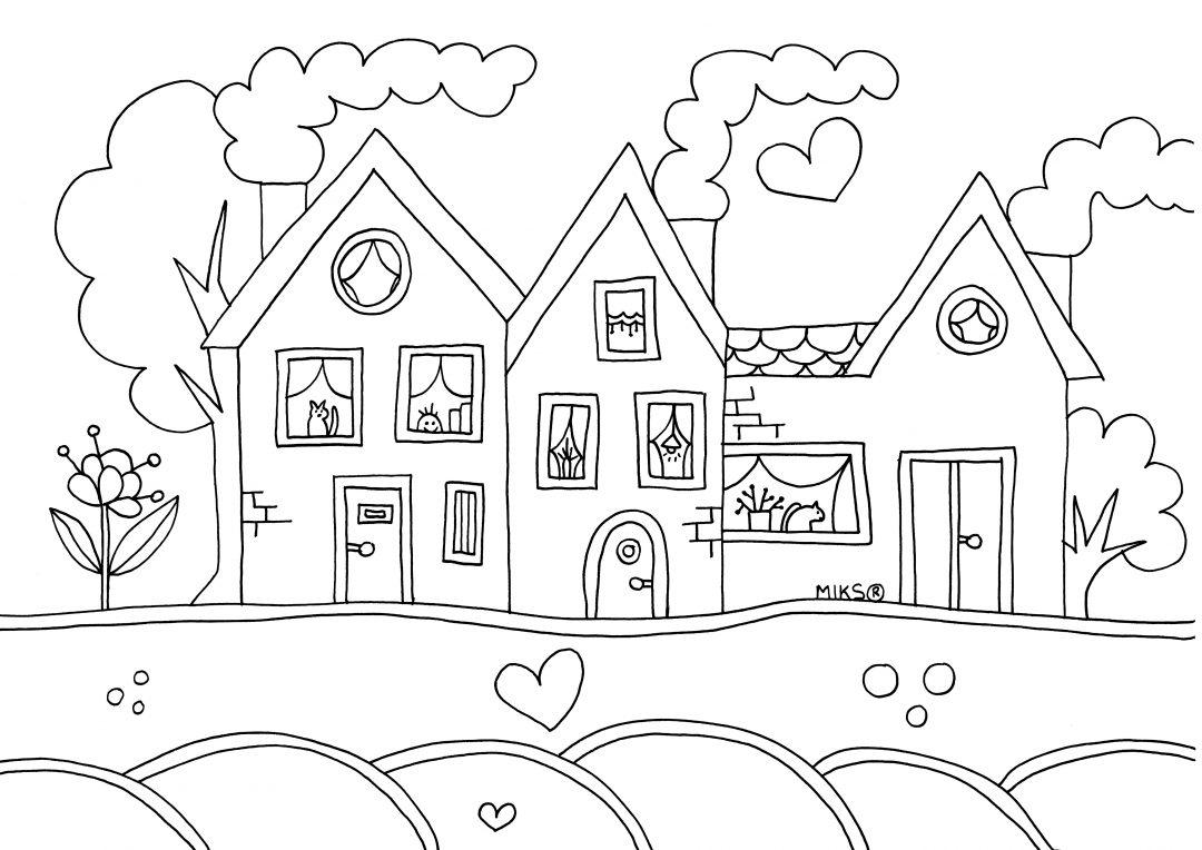 Tranh ngôi nhà đẹp cho bé tập tô màu