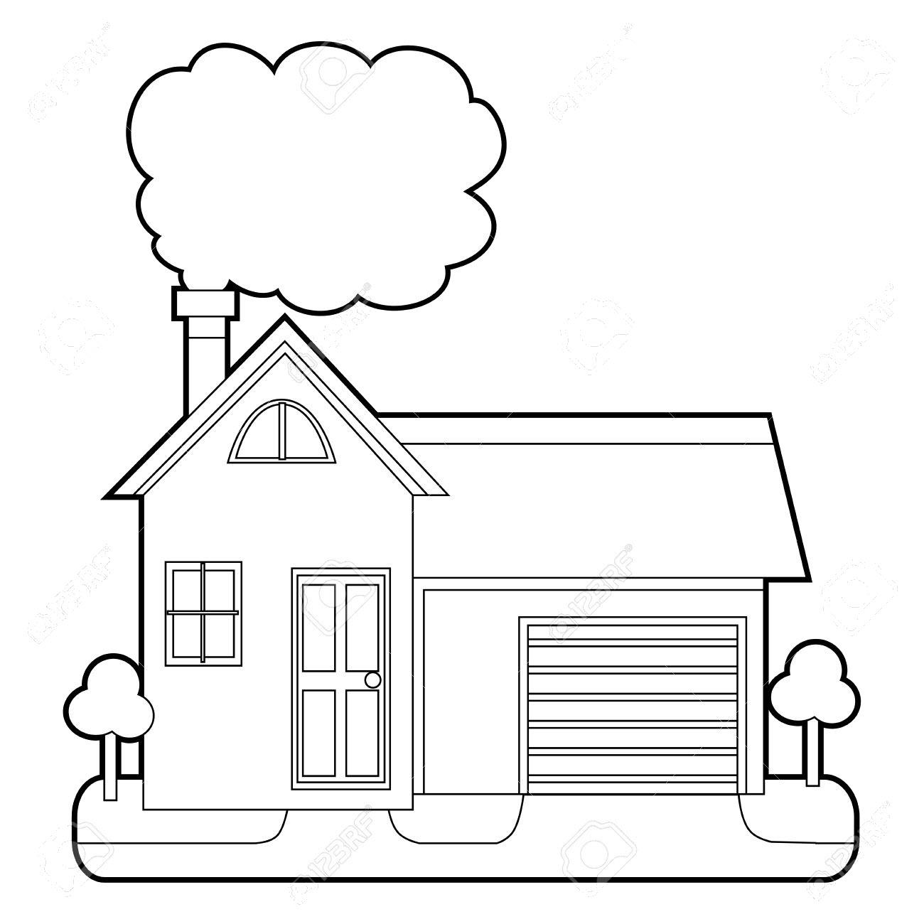 Tranh ngôi nhà đẹp cho bé tô màu