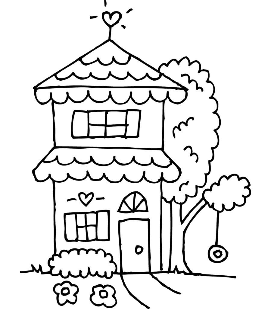 Tranh tập tô màu hình ngôi nhà