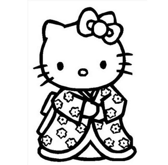 Tranh tập tô màu mèo Kitty cho bé