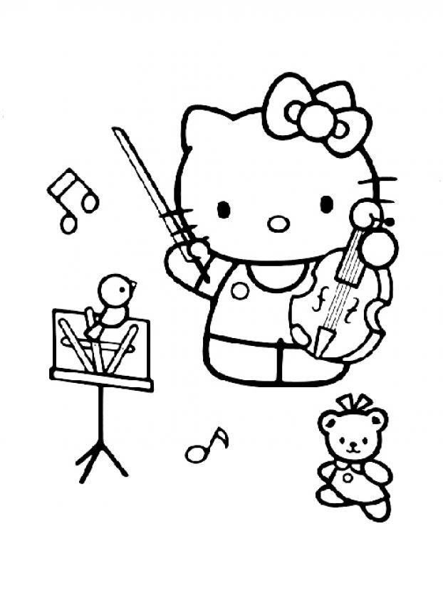 Tranh tập tô màu mèo Kitty đáng yêu cho bé