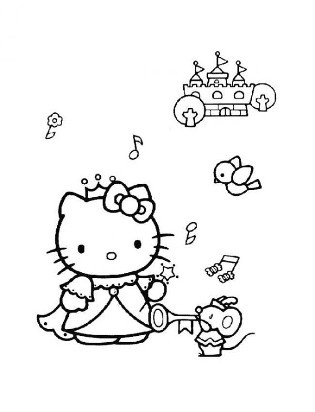 Tranh tập tô màu mèo kitty dễ thương