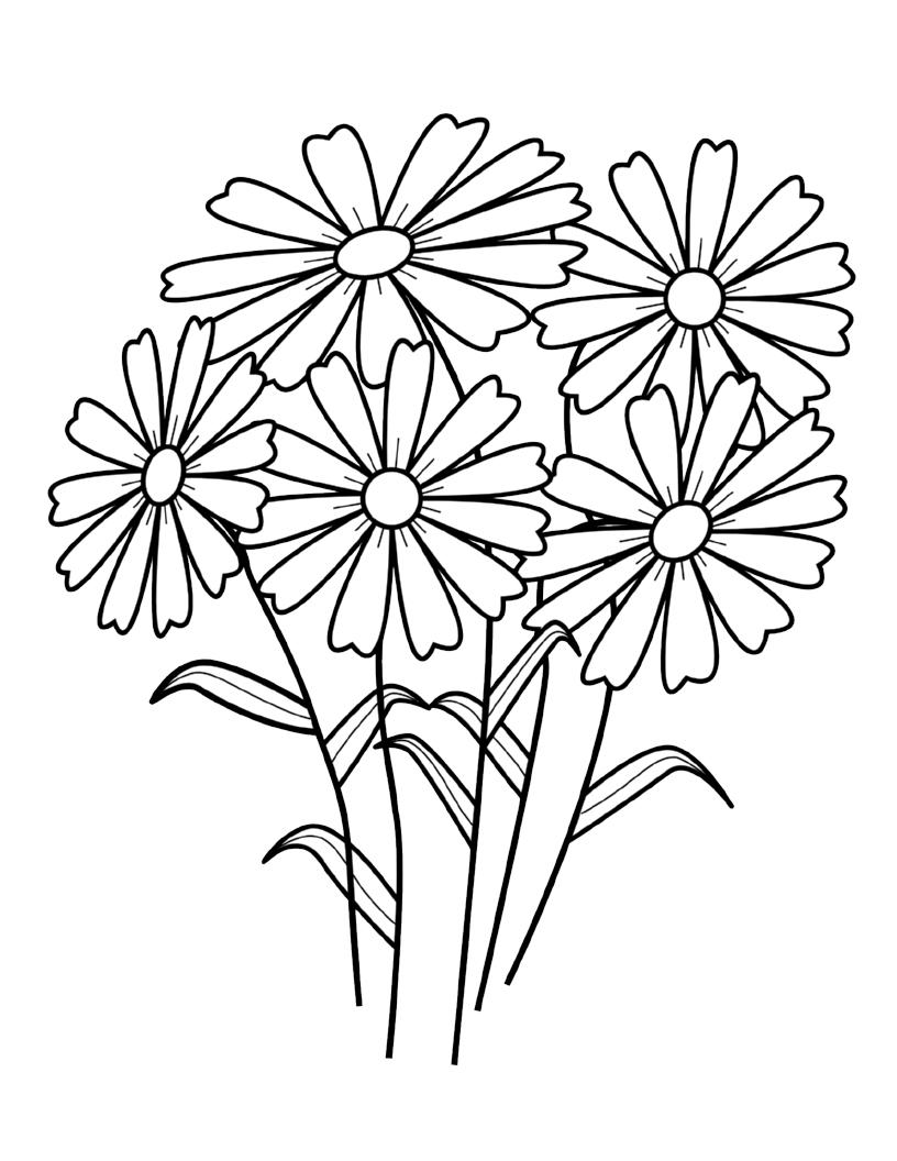 Tranh tô màu bó hoa đẹp