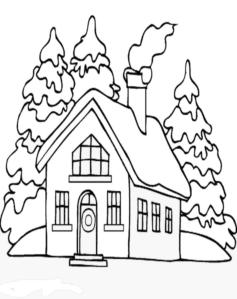 Tranh tô màu cho bé ngôi nhà