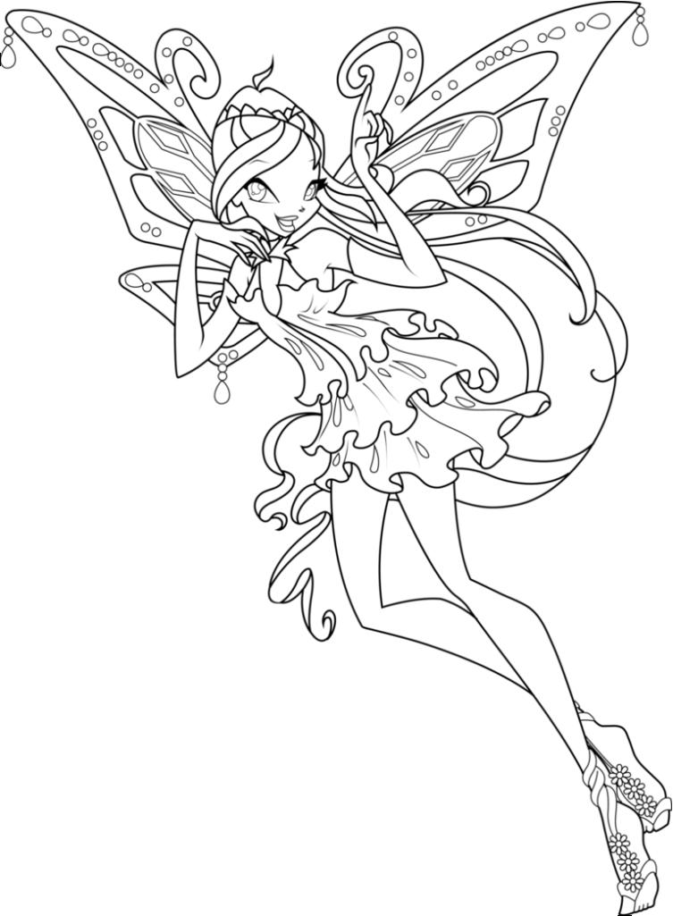 Tranh tô màu cho bé về công chúa phép thuật Winx