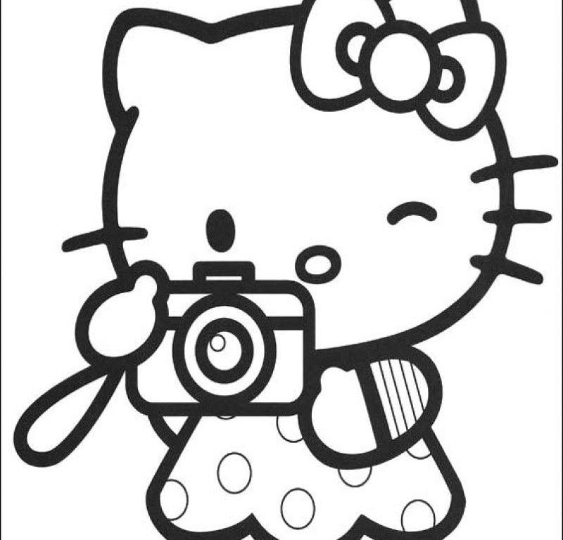 Tranh tô màu Hello Kitty chụp ảnh