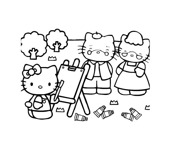 Tranh tô màu Hello Kitty đáng yêu