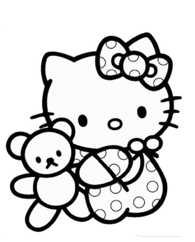 Tranh tô màu hình Hello Kitty đẹp