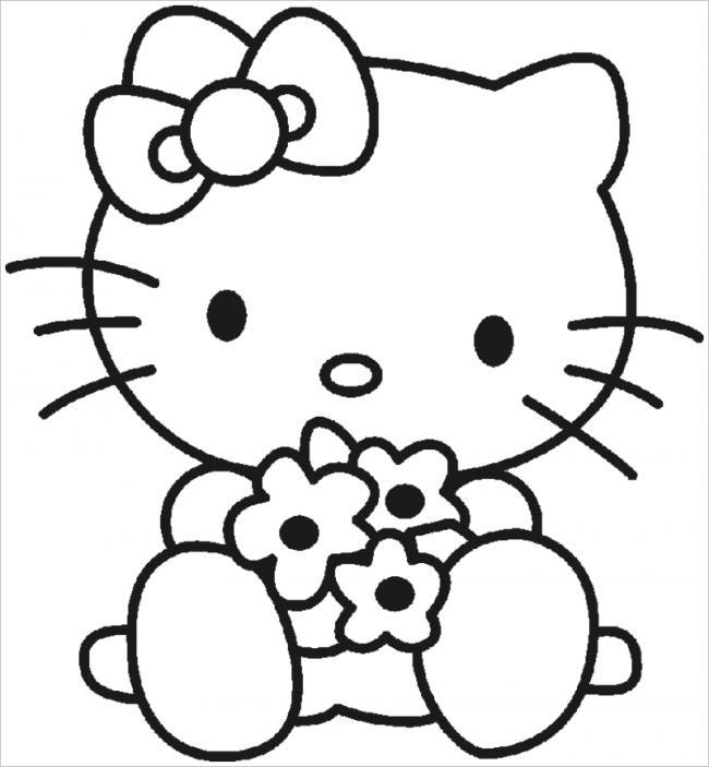 Tranh tô màu hình mèo Kitty đáng yêu