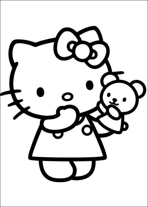 Tranh tô màu hình mèo Kitty dễ thương