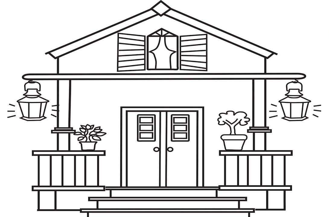 Tranh tô màu hình ngôi nhà cho bé