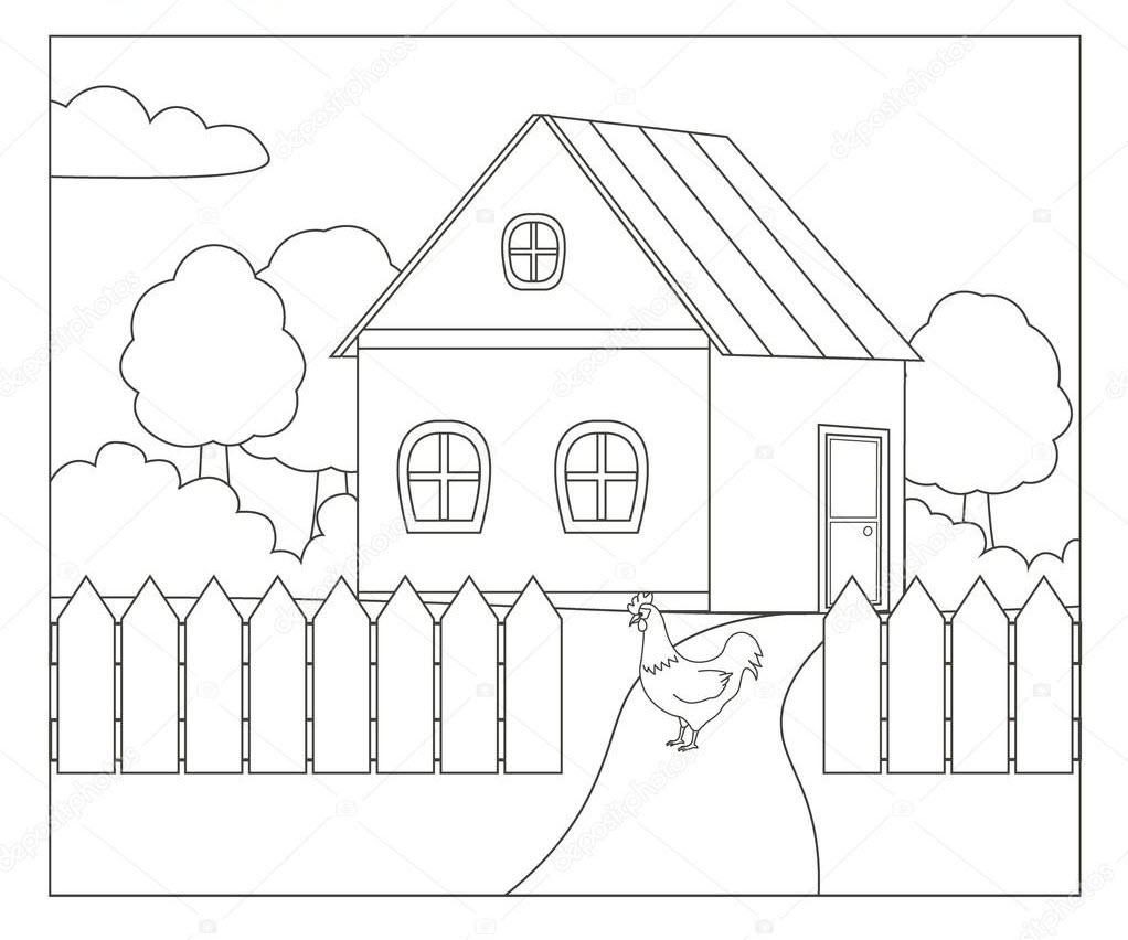 Tranh tô màu hình ngôi nhà đẹp