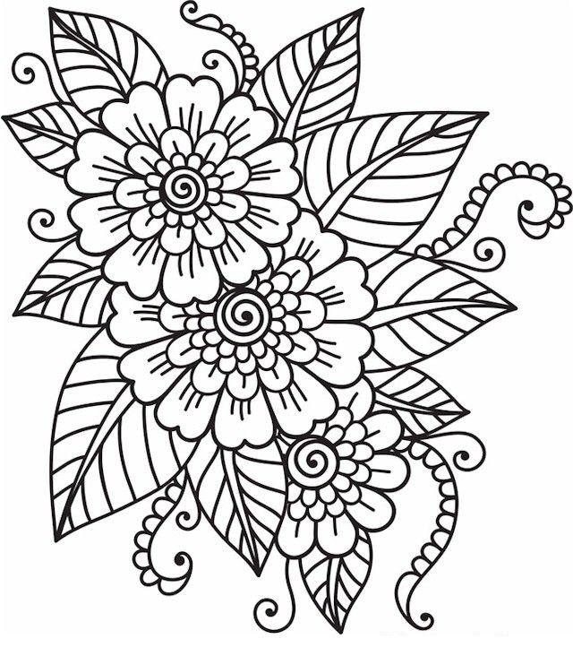 Tranh tô màu hoa lá đẹp
