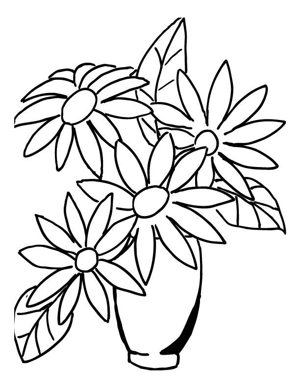 Tranh tô màu lọ hoa cho bé