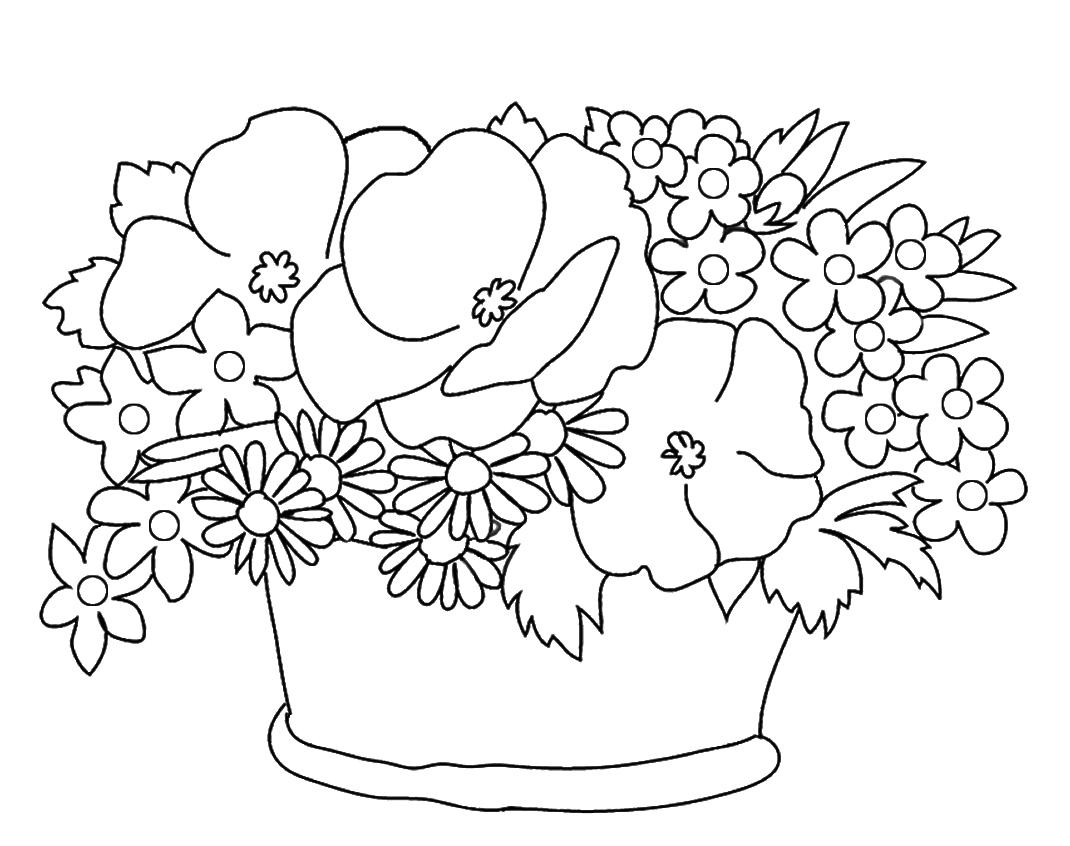 Tranh tô màu lọ hoa đẹp