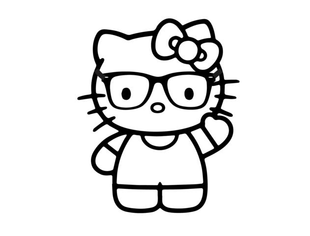 Tranh tô màu mèo Kitty đẹp