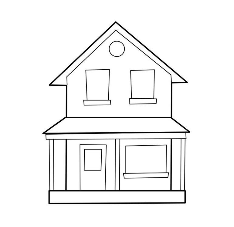 Tranh tô màu ngôi nhà 2 tầng đẹp