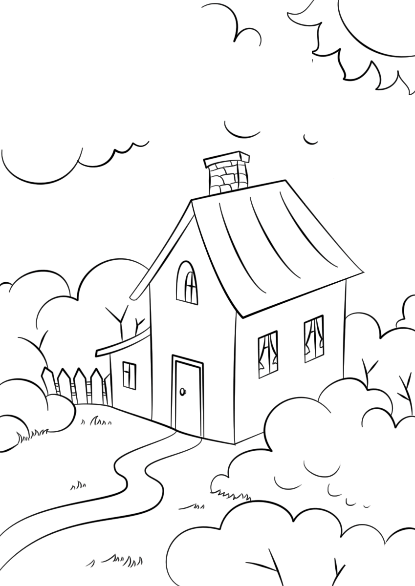 Tranh tô màu ngôi nhà đẹp cho bé