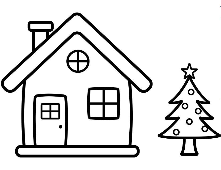 Tranh tô màu ngôi nhà và cây thông