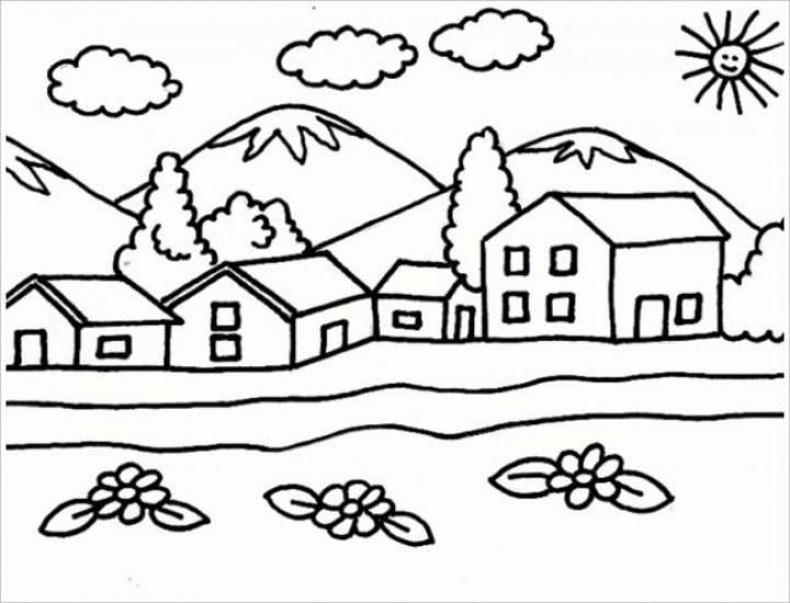 Tranh tô màu những ngôi nhà đẹp
