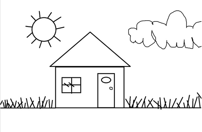 Tranh tô màu về ngôi nhà