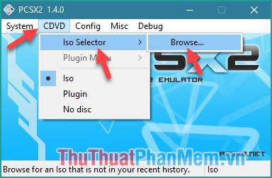 Chọn CDVD - Iso Selector - Browse...