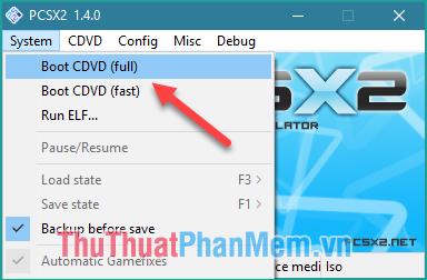 Chọn System - Boot CDVD (full)