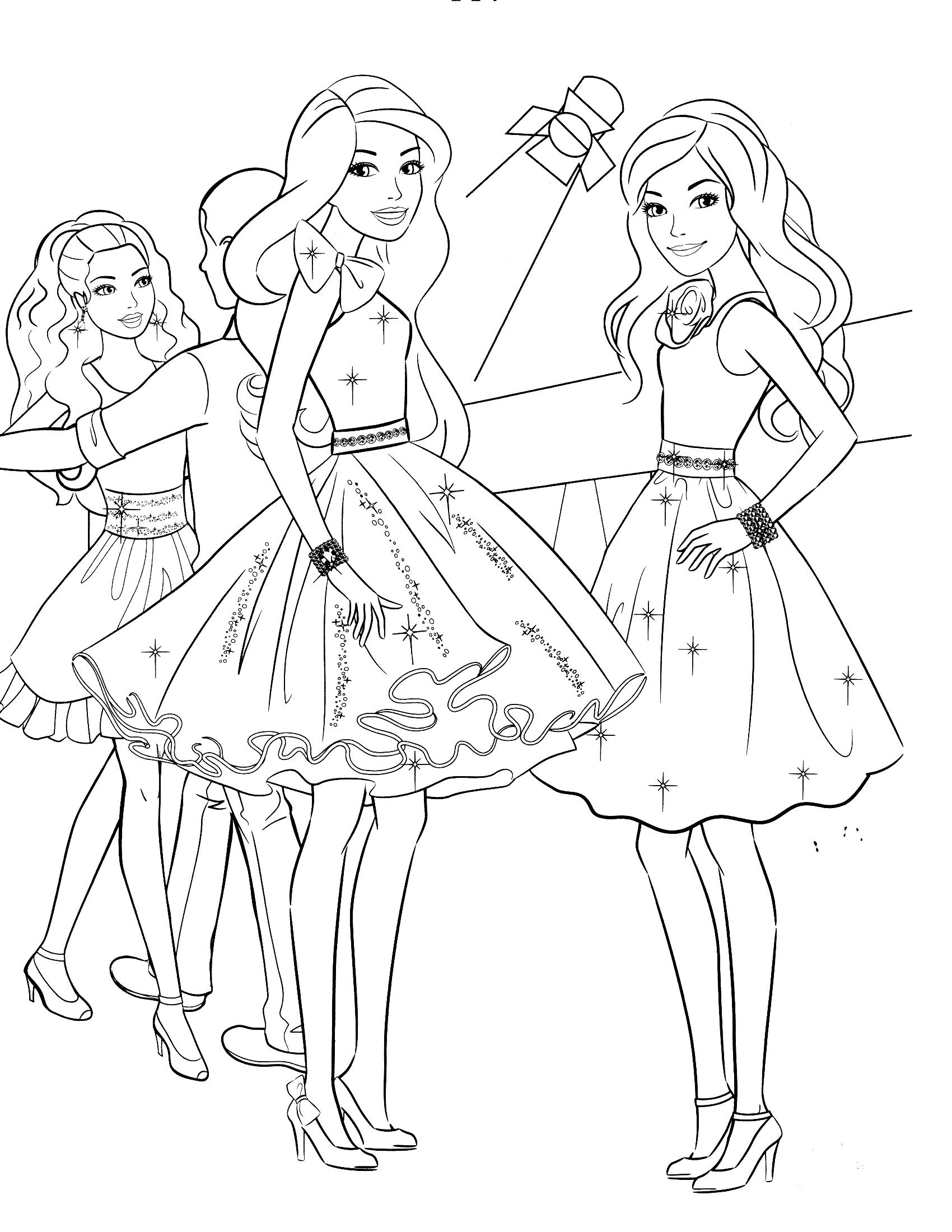 Hình ảnh công chúa barbie tô màu
