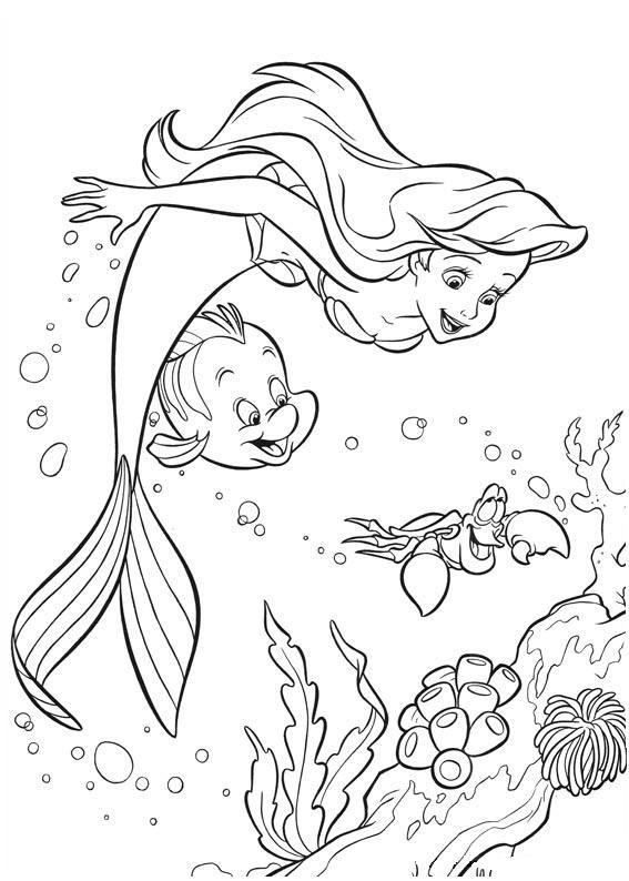 Hình nàng tiên cá cho bé tô màu (2)