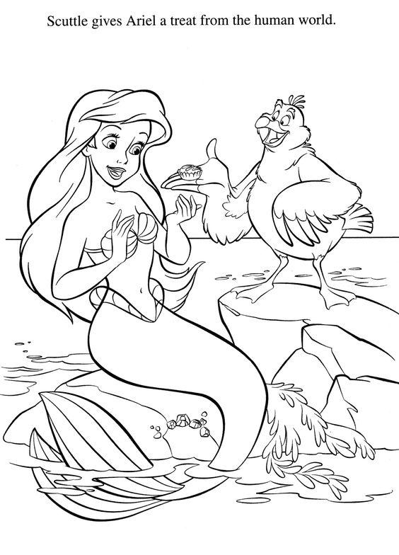 Hình nàng tiên cá cho các bé tập tô màu