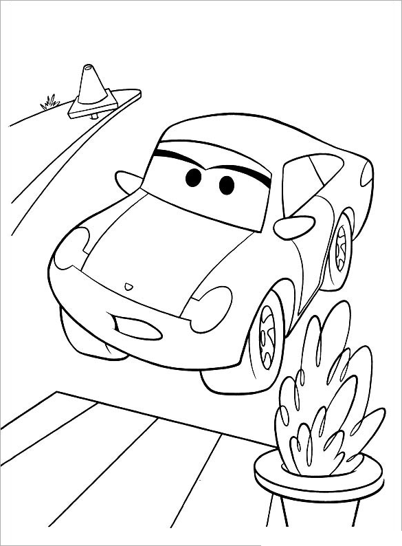 Hình ô tô cho bé tập tô màu
