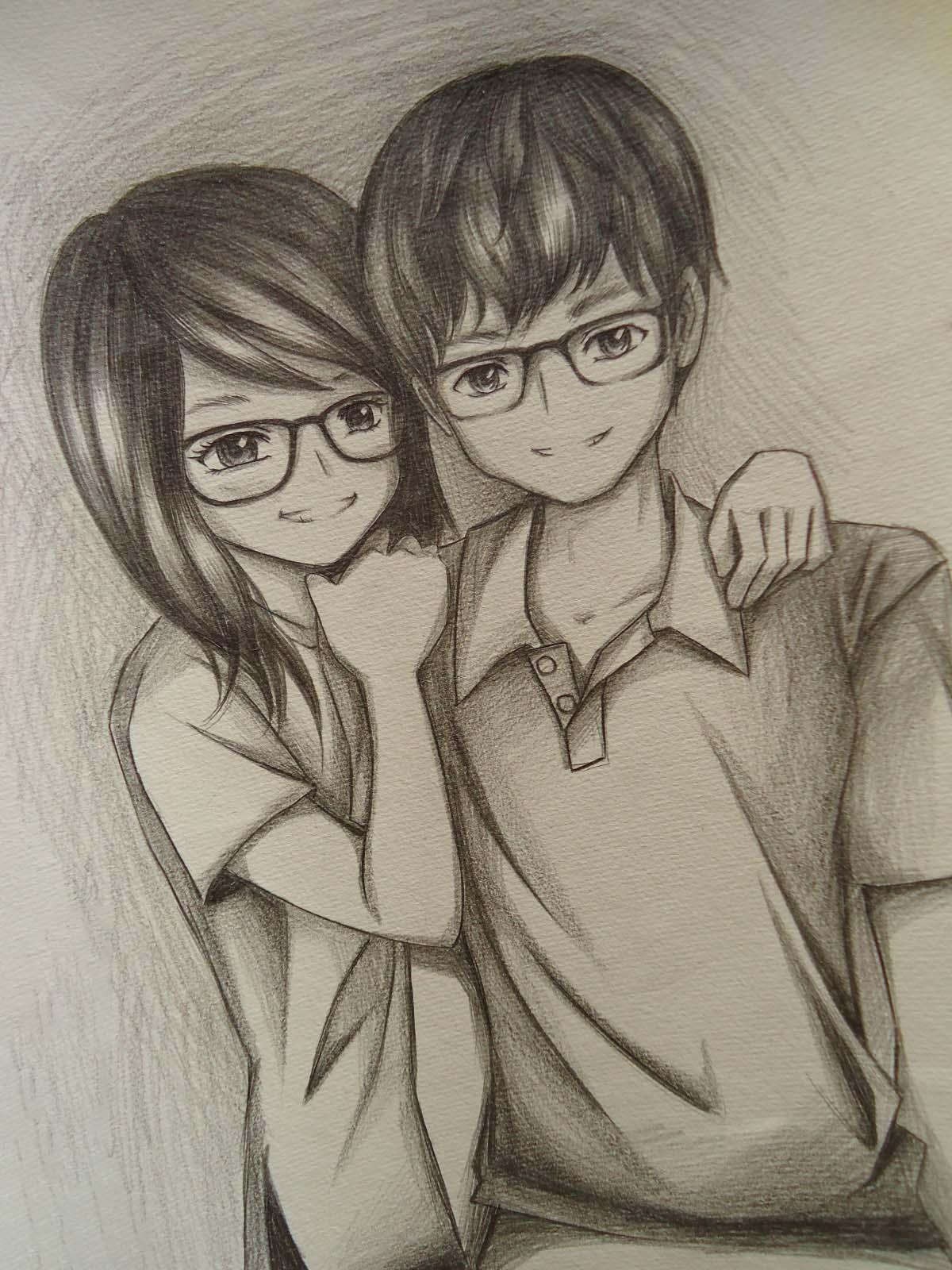 Hình vẽ cặp đôi dễ thương